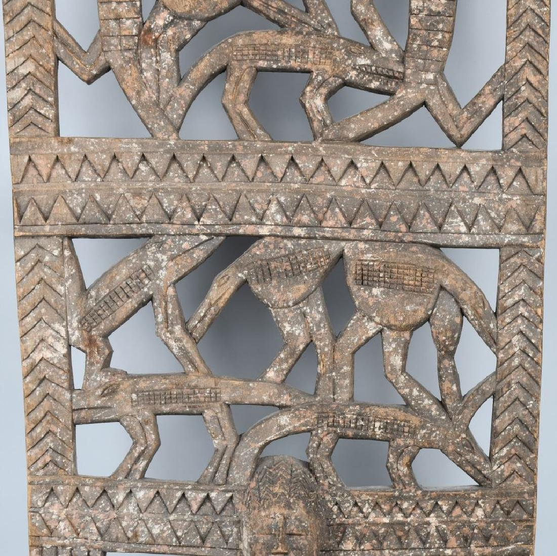 AFRICAN ELABORATE CARVED PANEL, CROCODILES - 4