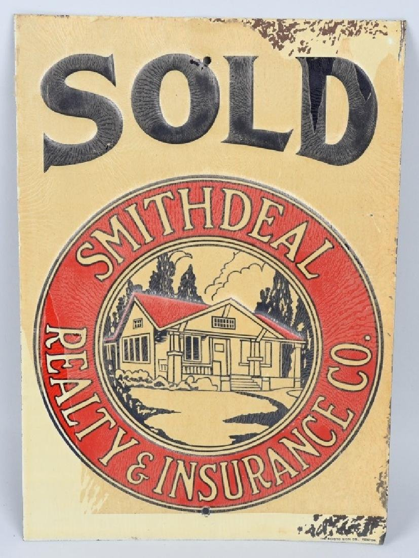 SMITHDEAL REALTY & INSURANCE TIN SOLD SIGN