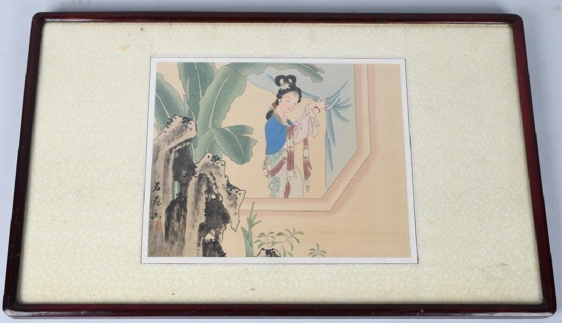 CHINESE MAIDEN PAINTING ON SILK, FRAMED, SIGNED