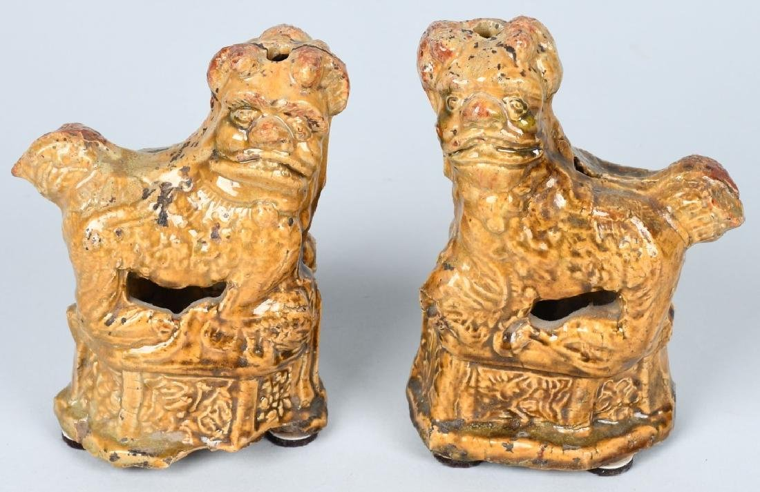 CHINESE CERAMIC FOO DOGS INCENSE HOLDERS