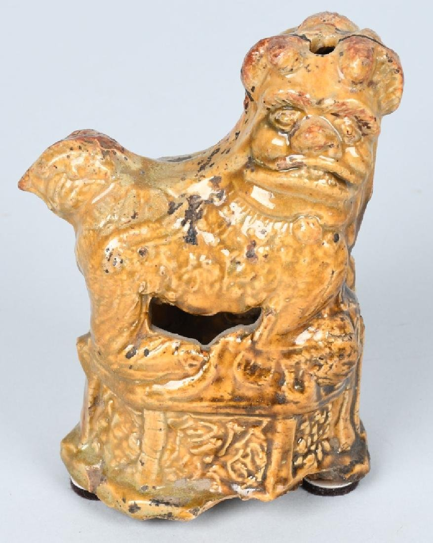 CHINESE CERAMIC FOO DOGS INCENSE HOLDERS - 2