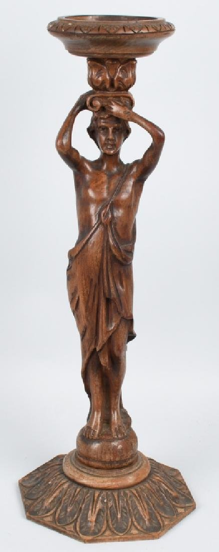CARVED WOOD FIGURAL ASHTRAY STAND