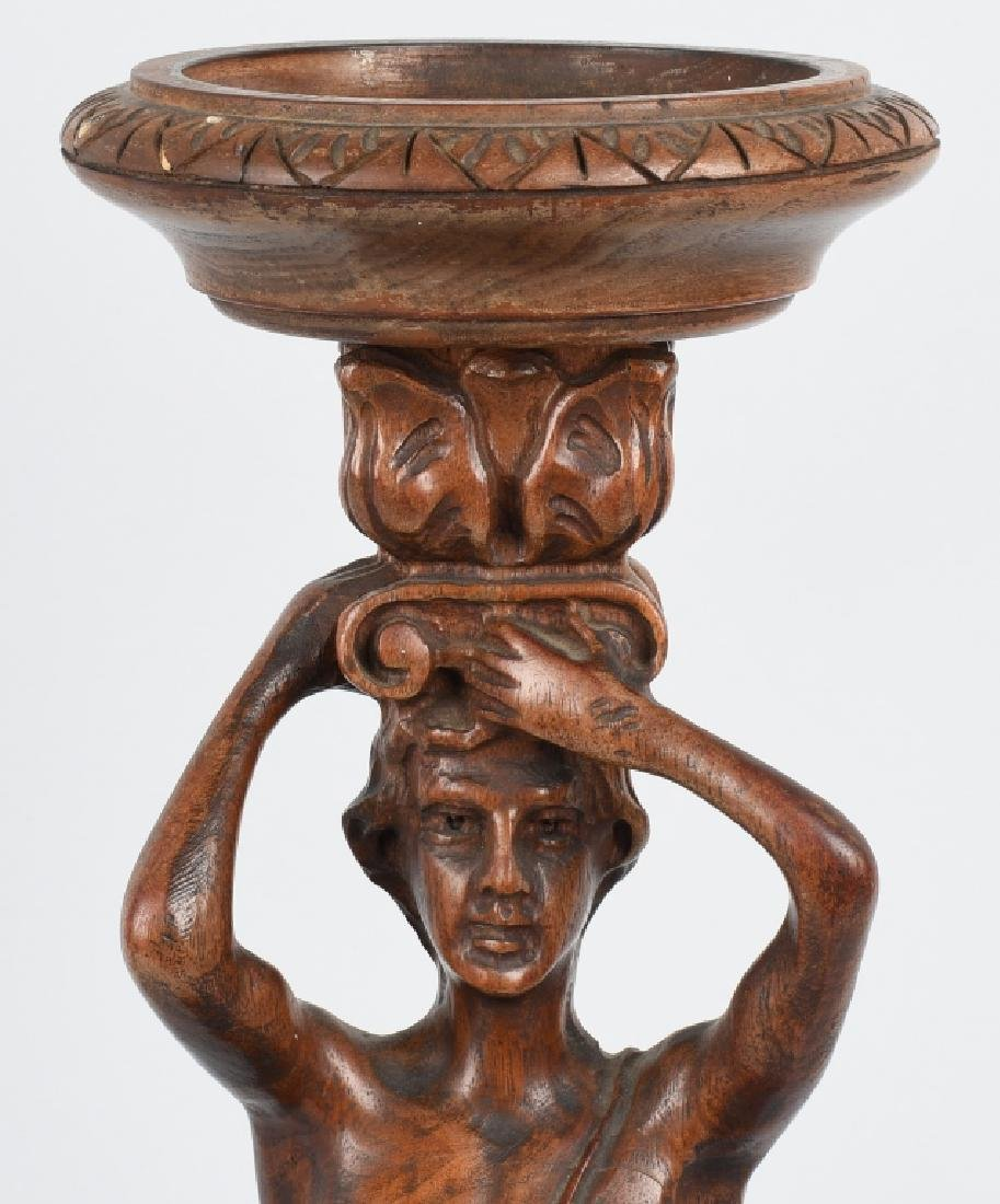 CARVED WOOD FIGURAL ASHTRAY STAND - 2