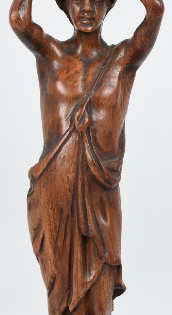 CARVED WOOD FIGURAL ASHTRAY STAND - 3