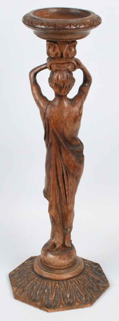 CARVED WOOD FIGURAL ASHTRAY STAND - 6