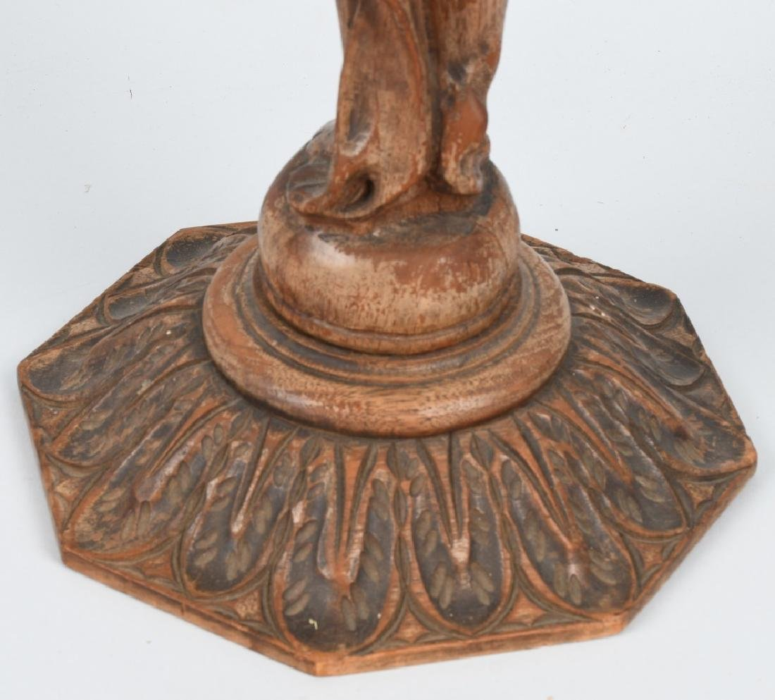 CARVED WOOD FIGURAL ASHTRAY STAND - 9
