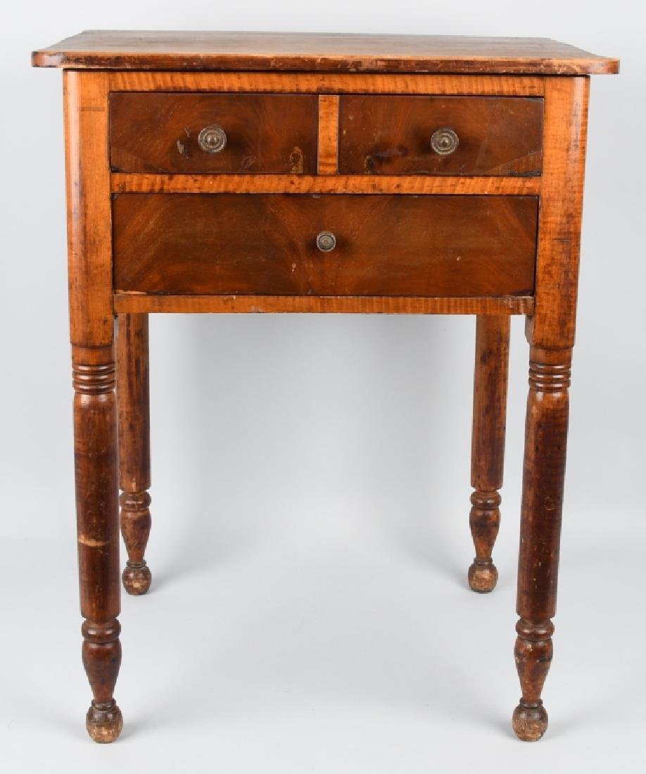 19th CENT. TIGER MAPLE & CHERRY 2 DRAWER STAND