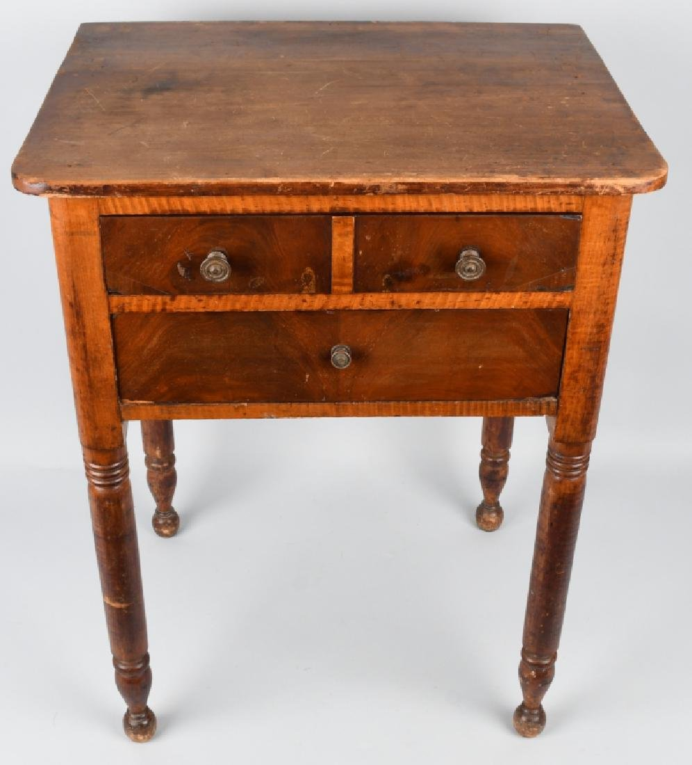 19th CENT. TIGER MAPLE & CHERRY 2 DRAWER STAND - 2