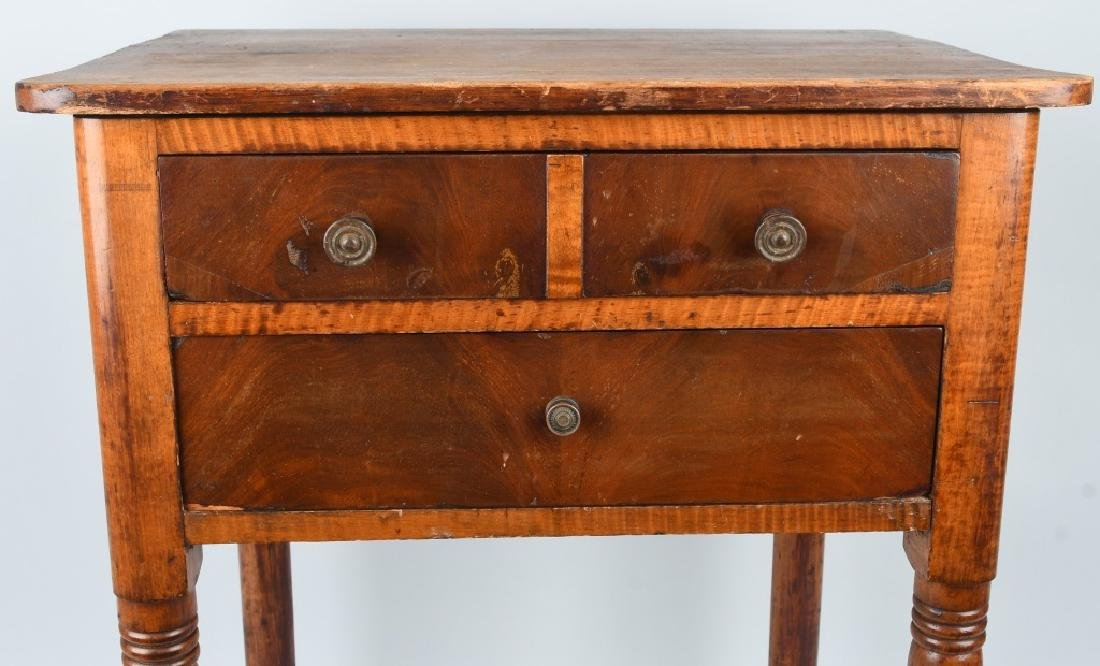 19th CENT. TIGER MAPLE & CHERRY 2 DRAWER STAND - 3
