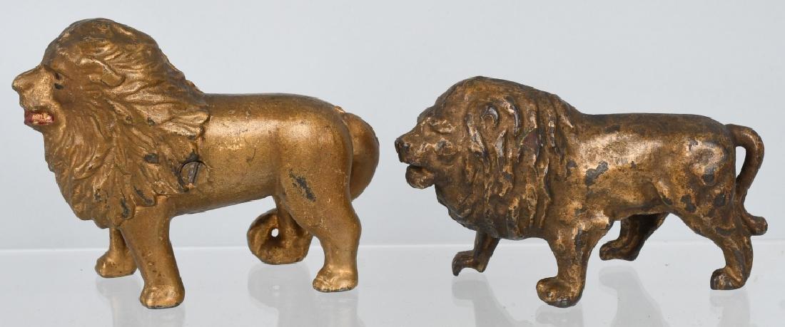 2-ANTIQUE CAST IRON LION STILL BANKS