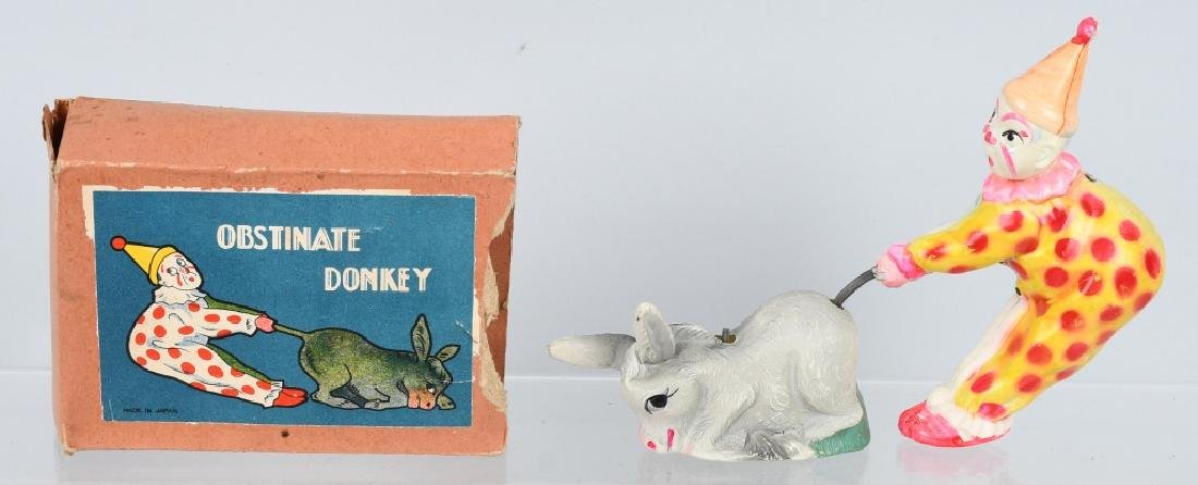 JAPAN CELLULOID WINDUP CLOWN & DONKEY, BOXED