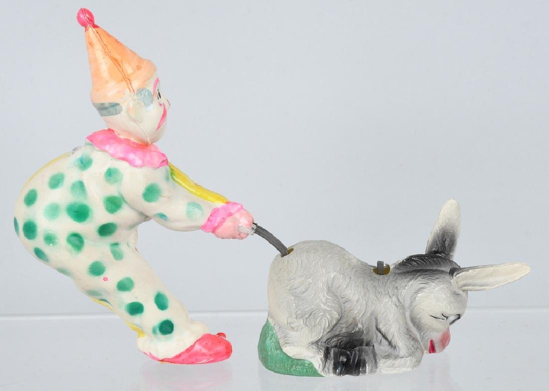 JAPAN CELLULOID WINDUP CLOWN & DONKEY, BOXED - 3