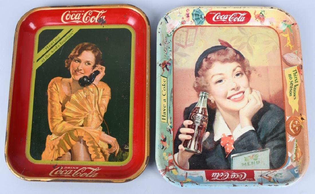 2-COCA COLA ADVERTISING TRAYS, 1930 & 1953