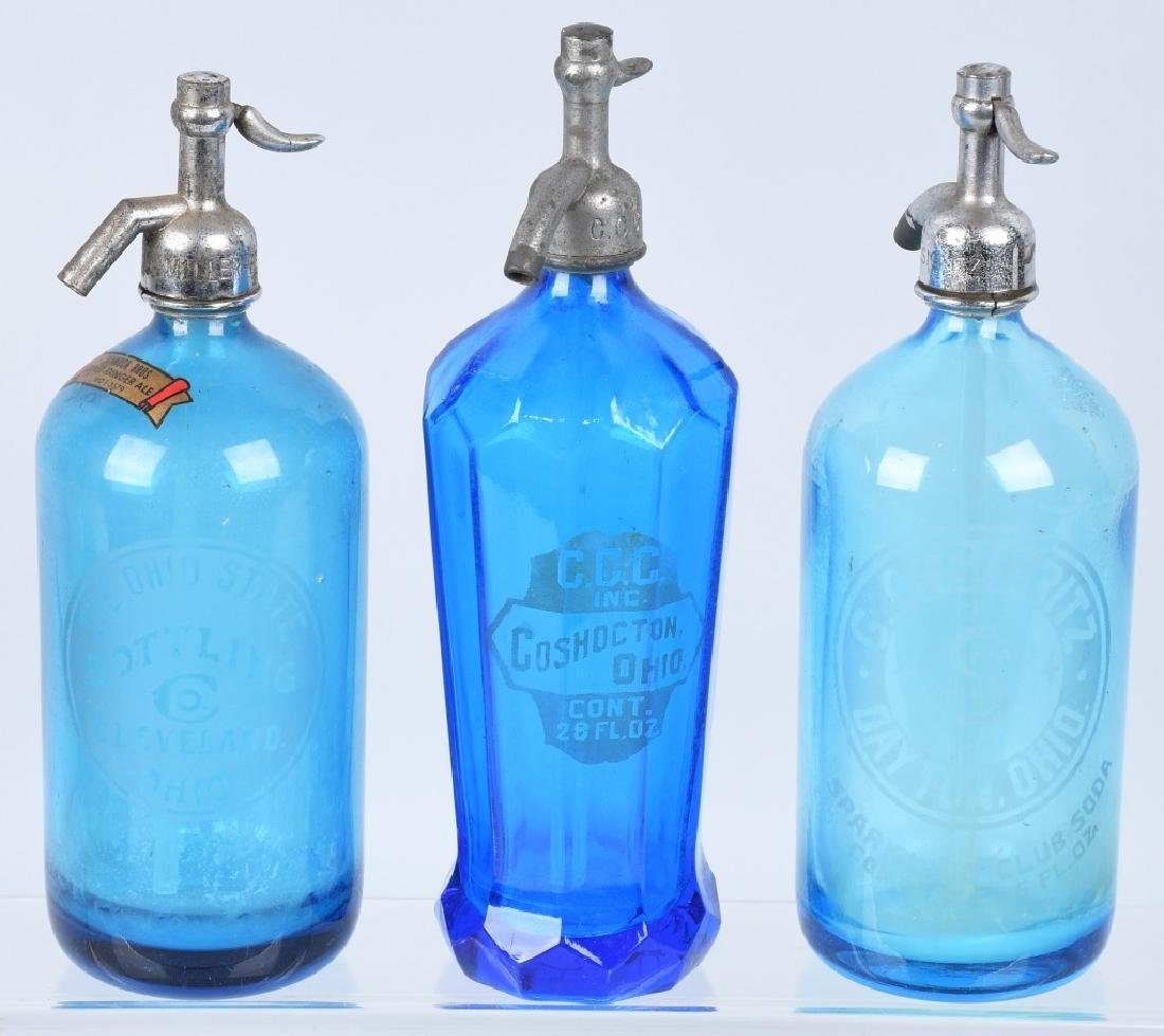 3-OHIO BLUE GLASS SELTZER BOTTLES