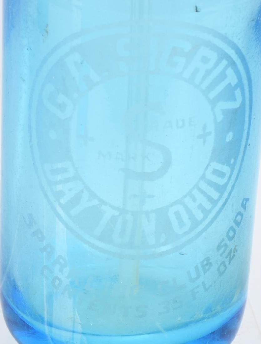 3-OHIO BLUE GLASS SELTZER BOTTLES - 2