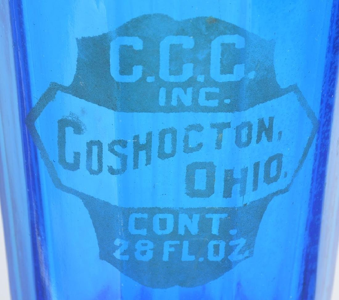 3-OHIO BLUE GLASS SELTZER BOTTLES - 3