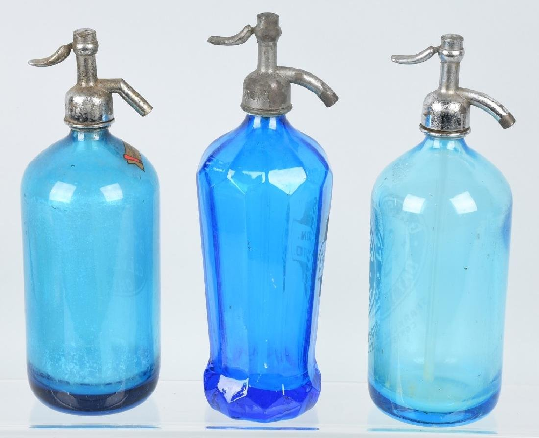 3-OHIO BLUE GLASS SELTZER BOTTLES - 5