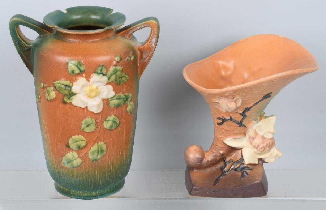2-ROSEVILLE POTTERY VASES 185-8 and 988-10