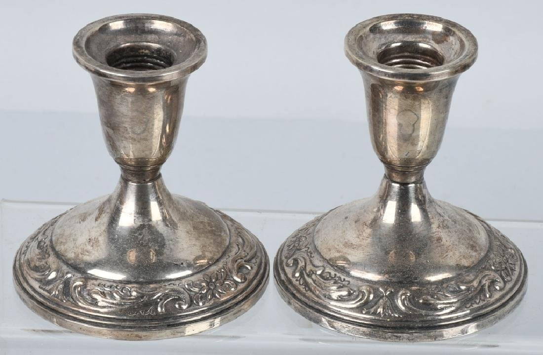 STERLING SILVER CANDLESTICK HOLDERS - 3