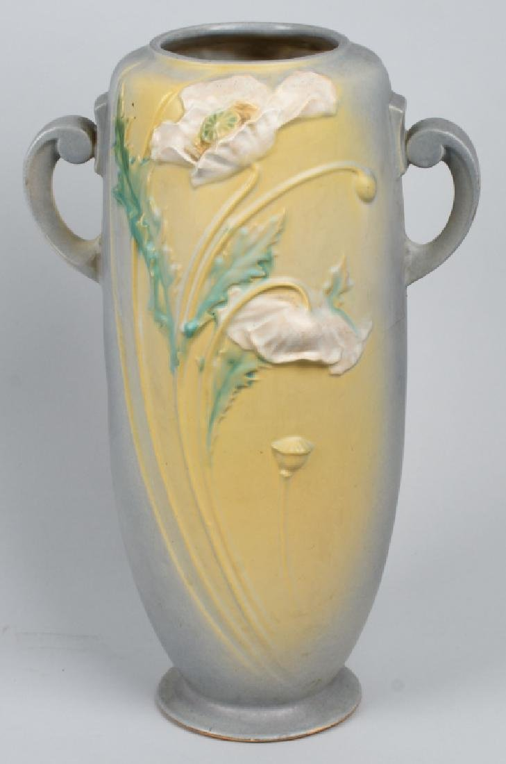LARGE ROSEVILLE POPPY HANDLED VASE