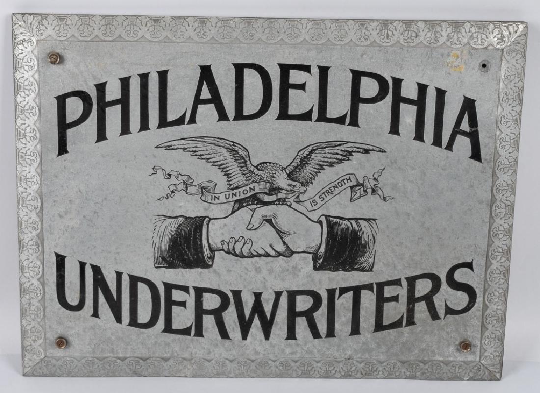 PHILADELPHIA UNDERWRITERS TIN SIGN