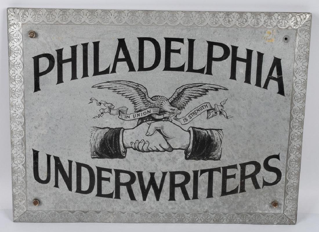 PHILADELPHIA UNDERWRITERS TIN SIGN