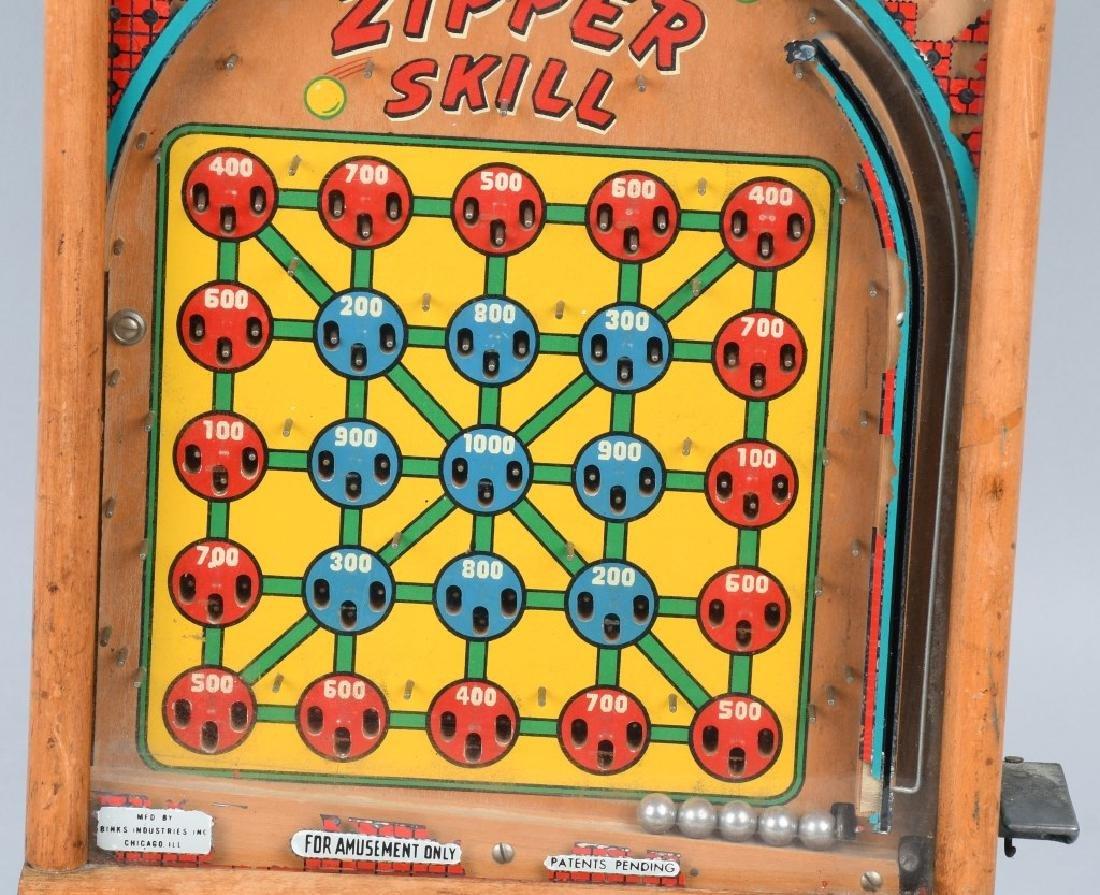1c BINKS ZIPPER SKILL COUNTERTOP PINBALL MACHINE - 3