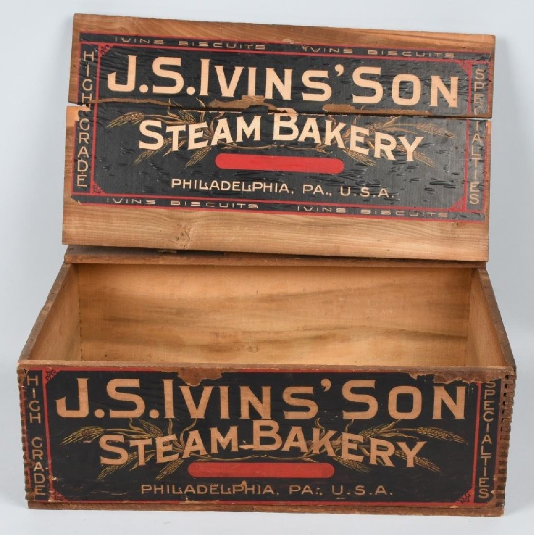 JS IVINS' SONS STEAM BAKERY WOOD CRATE
