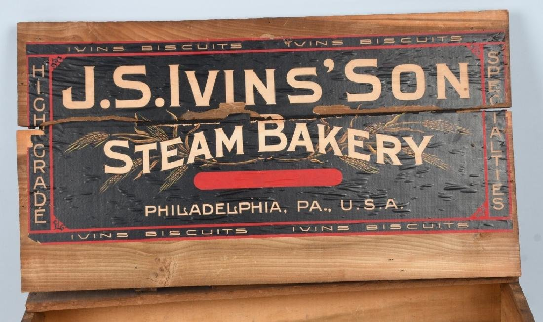 JS IVINS' SONS STEAM BAKERY WOOD CRATE - 2