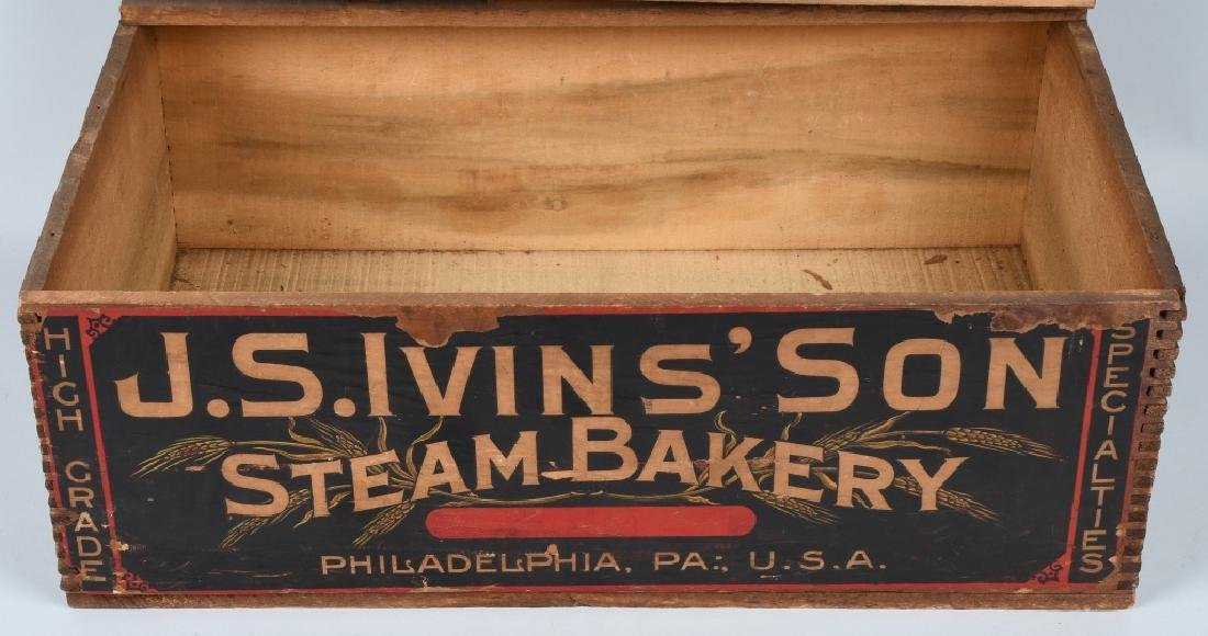 JS IVINS' SONS STEAM BAKERY WOOD CRATE - 3