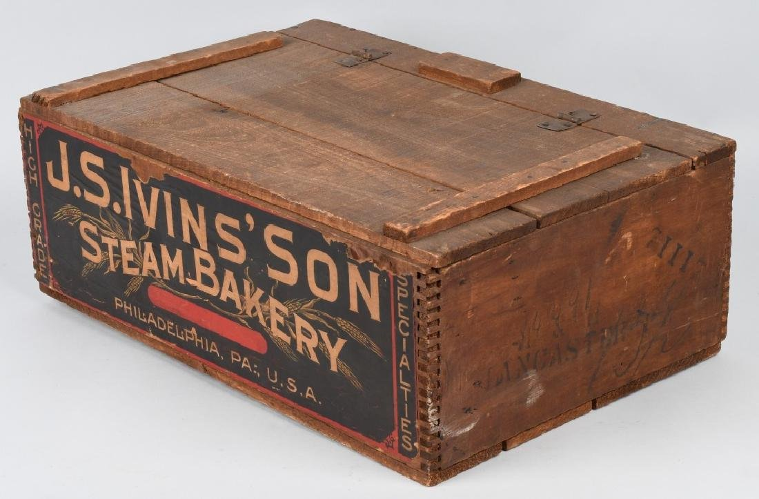 JS IVINS' SONS STEAM BAKERY WOOD CRATE - 4