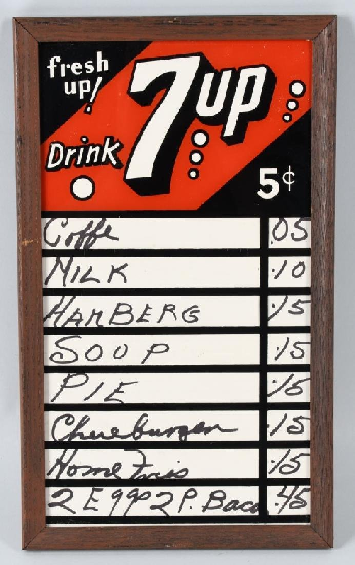 7-UP REVERSE PAINTED GLASS MENU BOARD