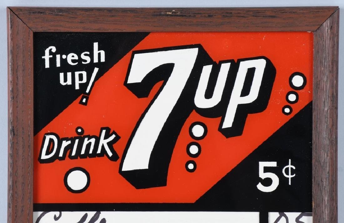 7-UP REVERSE PAINTED GLASS MENU BOARD - 2