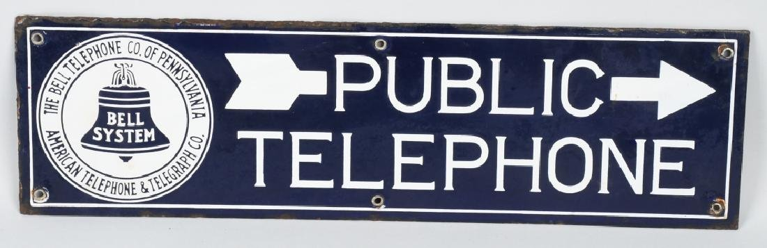 BELL SYSTEM PUBLIC TELEPHONE DS PORCELAIN SIGN