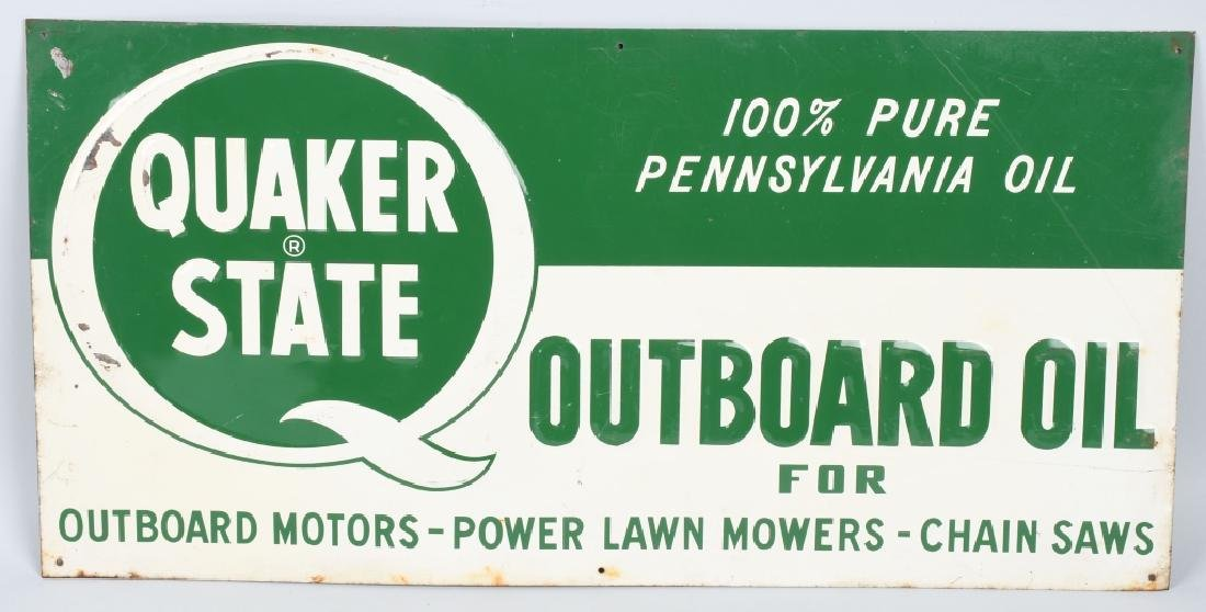 QUAKER STATE OUTBOARD MOTOR OIL TIN SIGN