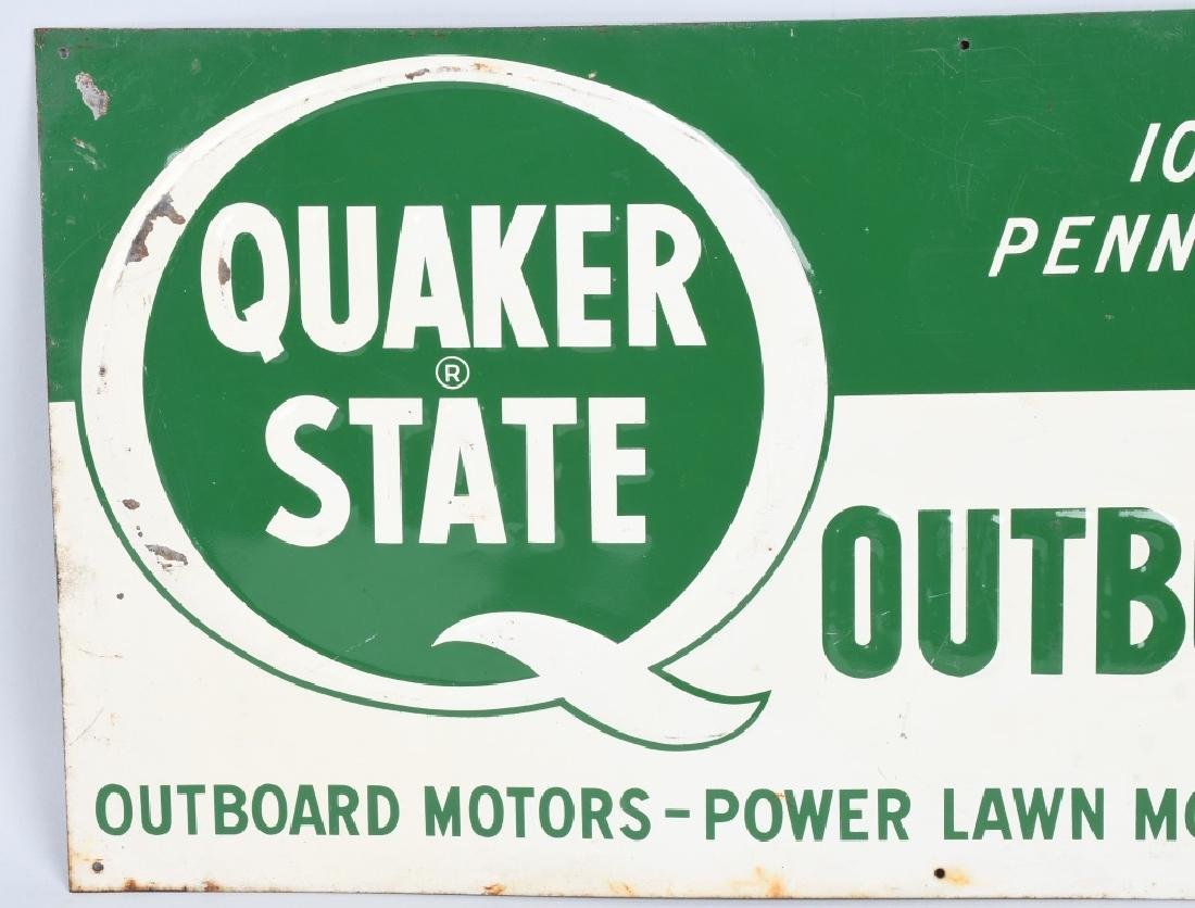 QUAKER STATE OUTBOARD MOTOR OIL TIN SIGN - 2