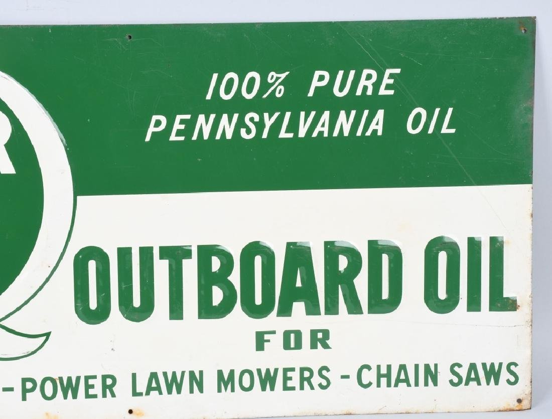 QUAKER STATE OUTBOARD MOTOR OIL TIN SIGN - 3