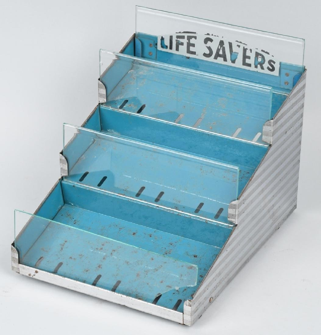 LIFESAVERS TIN & GLASS COUNTER DISPLAY