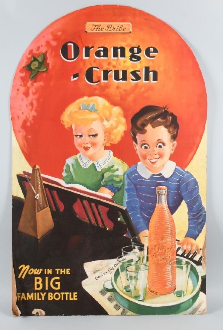 "1930s ORANGE CRUSH ""THE BRIBE"" DIE CUT SIGN"