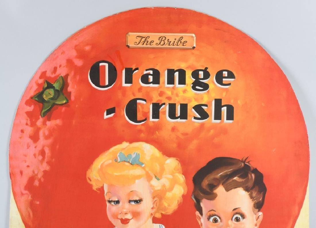 "1930s ORANGE CRUSH ""THE BRIBE"" DIE CUT SIGN - 2"