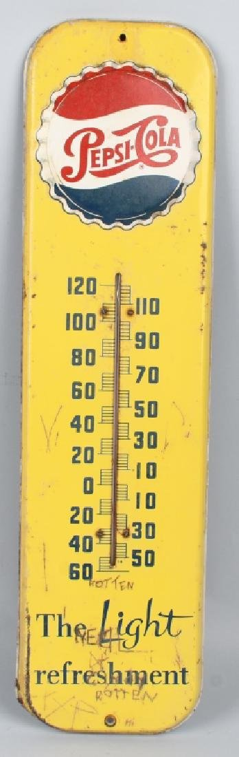 PEPSI COLA TIN EMBOSSED THERMOMETER