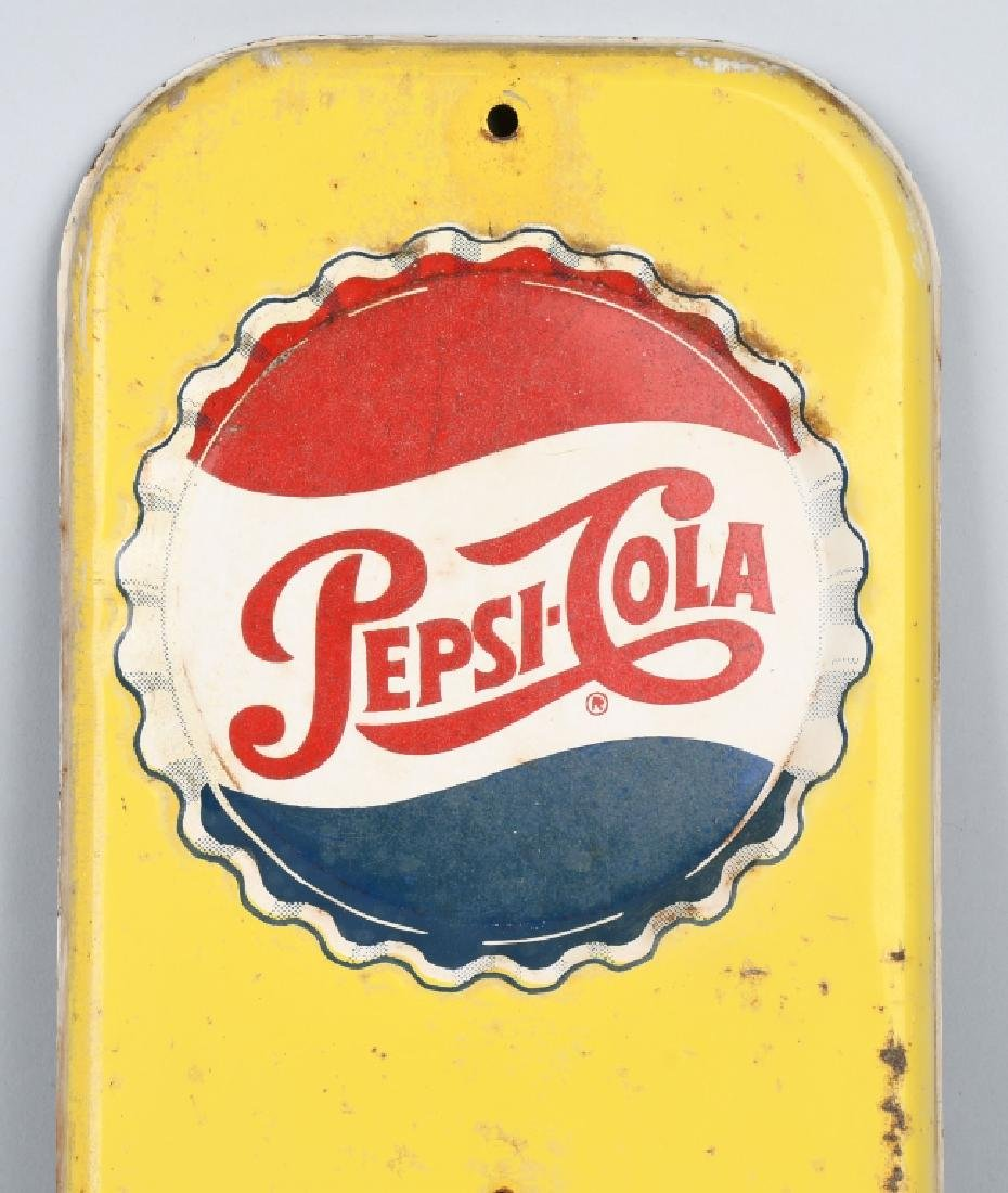 PEPSI COLA TIN EMBOSSED THERMOMETER - 2