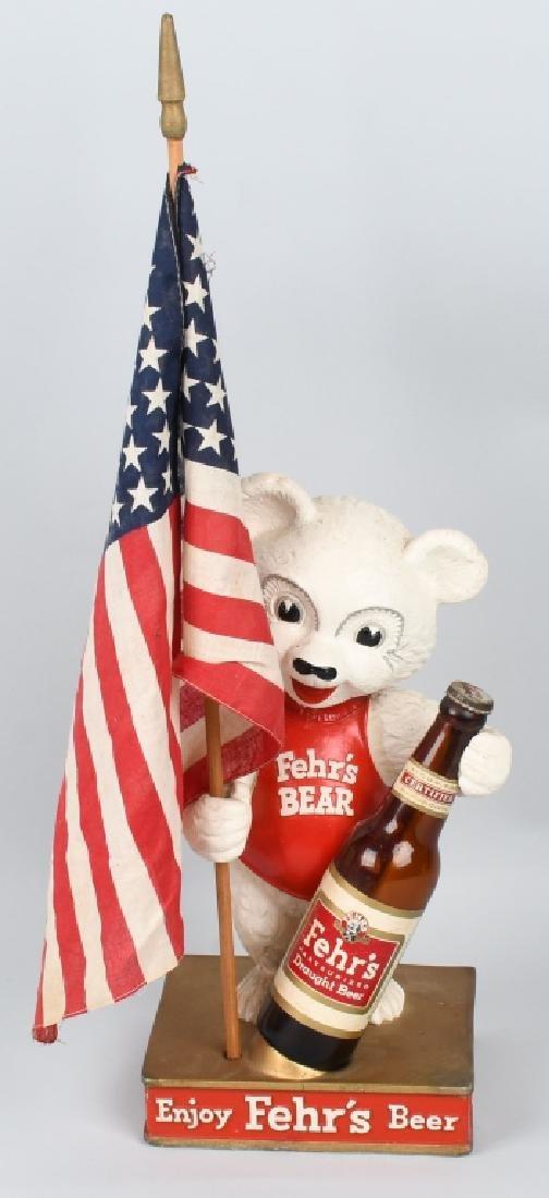 FEHR'S BEER BEAR CHALKWARE ADVERTISING STATUE