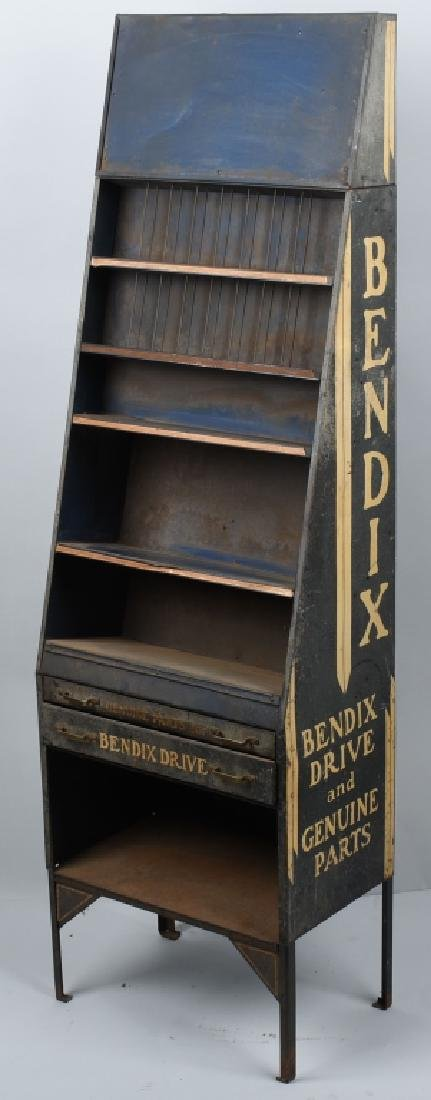 VINTAGE BENDIX TIN PARTS DISPLAY CABINET