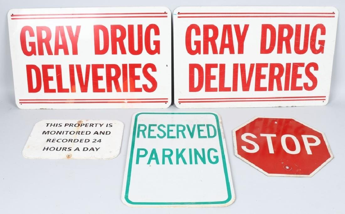 5-ALUMINIUM SIGNS, STOP, RESERVED PARKING & MORE