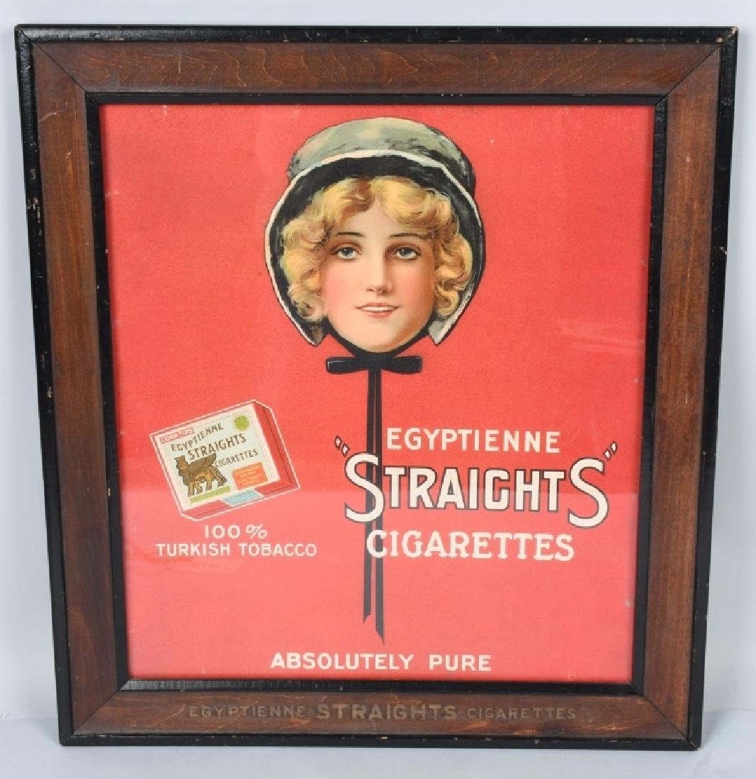 EGYPTIAN STRAIGHTS CIGARETTES SIGN w/ FRAME