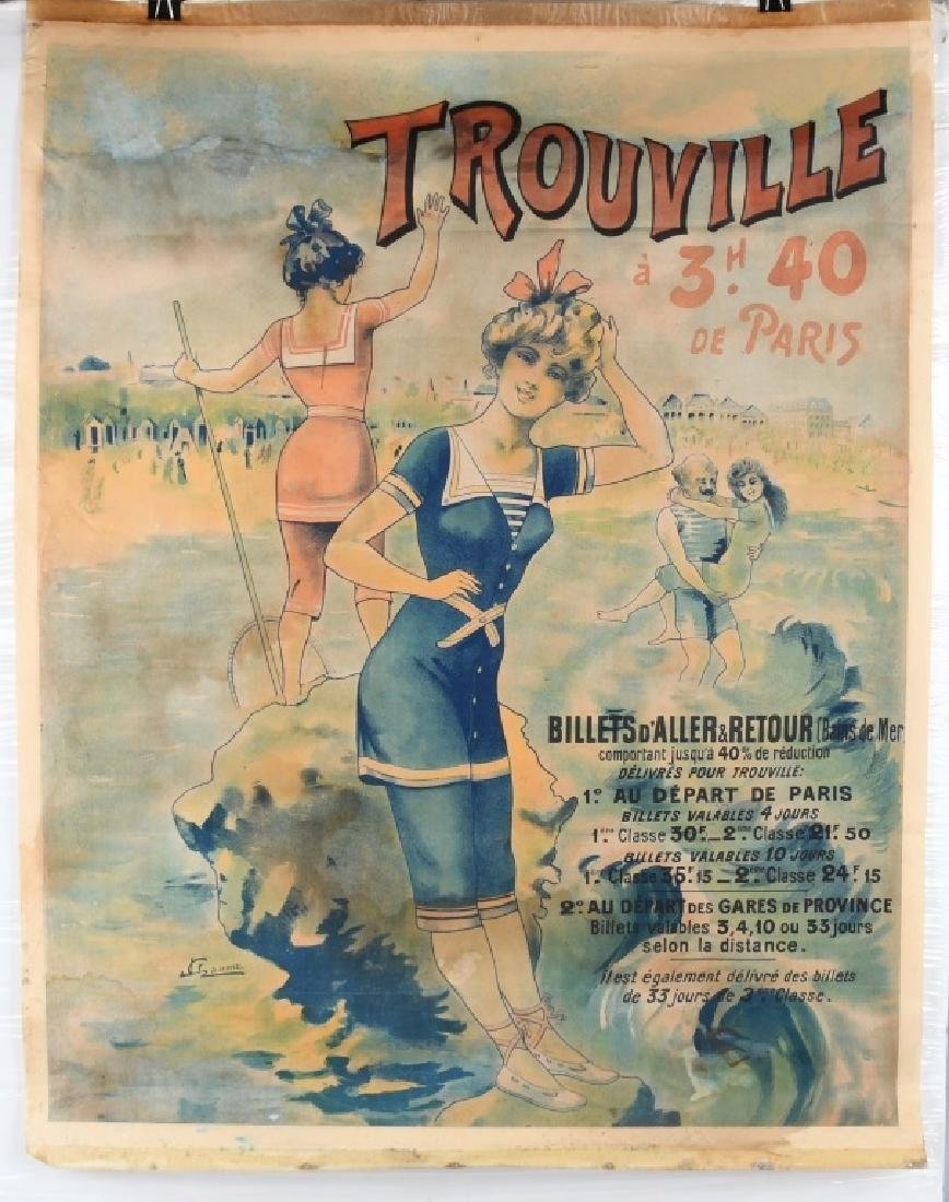 EARLY FENCH TROUVILLE BEACH POSTER J. CHAUME