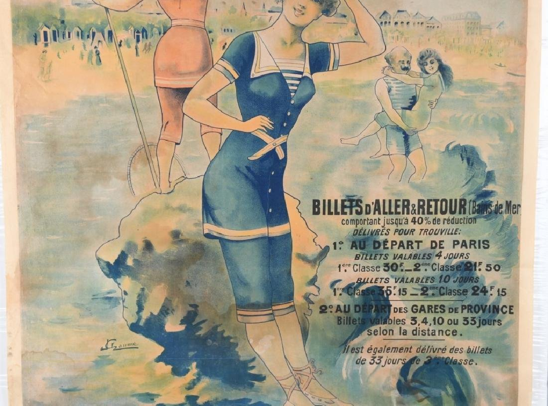 EARLY FENCH TROUVILLE BEACH POSTER J. CHAUME - 4