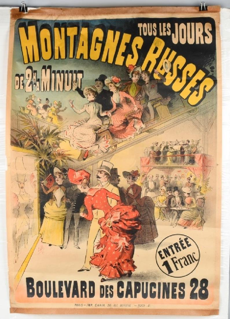 1888 FRENCH MONTAGNES RUSSES ROLLER COASTER POSTER