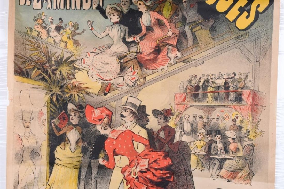 1888 FRENCH MONTAGNES RUSSES ROLLER COASTER POSTER - 3